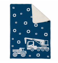 Linens & More Truck Sherpa Baby Blanket Grey 75x100