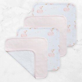 Living Textiles Swan & Pink Stripe Face Washers - 4pk