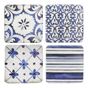 Oneworld Blue & White Coasters - S/4