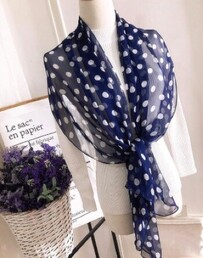 Bow Fashion Navy/White Spots Scarf
