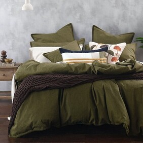 MM Linen Stitch Duvet Set - Olive