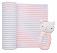 Living Textiles Cat Muslin Swaddle & Rattle Blush Stripe
