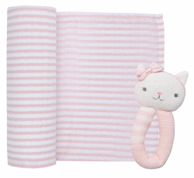 Living Textiles Cat Muslin Swaddle & Rattle - Blush Stripe
