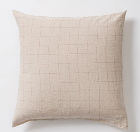 Citta Grid Linen Pillowcase - Natural/Raisin Euro