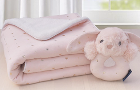 Living Textiles Pink Heart Sherpa Blanket & Rattle Set
