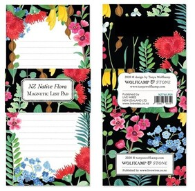 Wolfkamp & Stone NZ Flower Border Magnetic List Pad