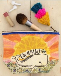 Natural Life Oh Whale Canvas Cosmetic Bag