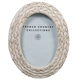 French Country Rope White Wash Oval Photo Frame 2.5x3.5""