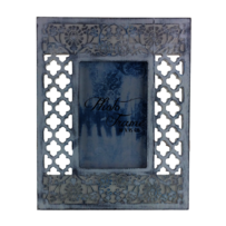 Urban Products Brush Flower Frame - White/Blue 4x6""