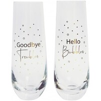 Urban Hello Bubbles Champagne Glass - Gold Set of 2 16cm