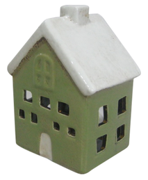 French Country Green Tea Light House 12.5cmH