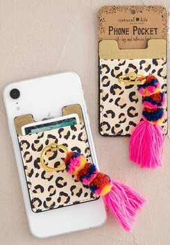 Natural Life Cheetah Tassel Phone Pocket Ring