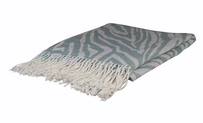 Madras Zebra Jacquard Throw Aqua - 130x150cm