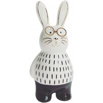 Urban Bunny with Glasses Figurine 17cmH - Monochrome
