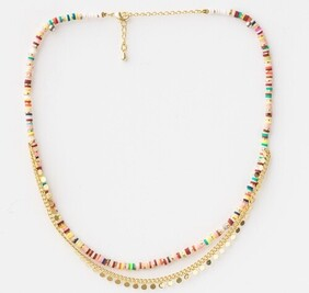 Stella & Gemma Clay Disc Colour Gold Chain Necklace