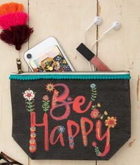 Natural Life Be Happy Canvas Cosmetic Pouch - Black