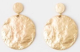 Stella & Gemma Stacked Circles Brushed Brass Earrings