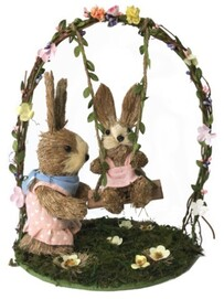 Easter Rabbits on Swing Basket 2 pce - 30cmH