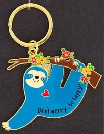 Natural Life Sloth Be Happy Enamel Keychain