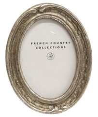 French Country Antique Mini Oval Frame - Silver 2x3""