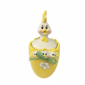 Easter Ceramic Chick in Egg Pot Yellow Large D11cmxH23cm