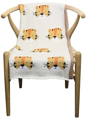 Le Forge Tiger Cotton Throw Natural/Tiger - 80x100cm