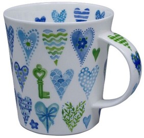 Dunoon Lomond Hearts Mug - Blue