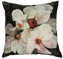 French Country Magnolia Rectangle Cushion Charcoal - 50x50cm