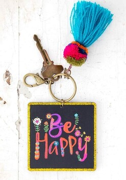 Natural Life Chirp Be Happy Keychain