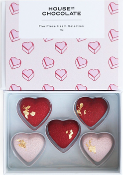 House of Chocolate Heart Selection Chocolates - Red 5 pce
