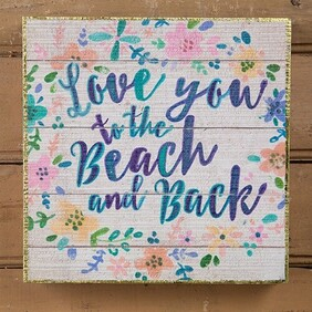Natural Life Love You Beach Wall Art 20x20cm