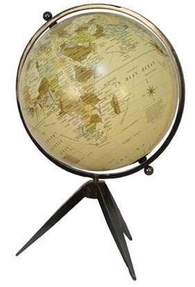 French Country Natural Globe on Tripod Stand