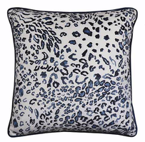 Madras Leopard Velvet Cushion Blue - 50x50cm