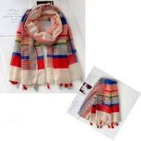 Bow Fashion Bright Stripes with Tassels Scarf