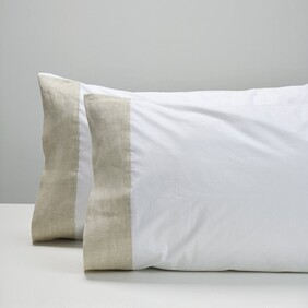Thread Cotton Pillowcase - Natural Cuff Std Pair
