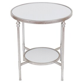 Mirrored Silver Side Table w Shelf