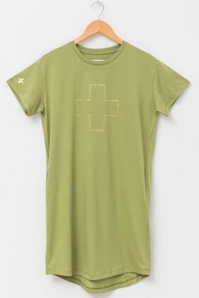 Stella & Gemma T-Shirt Dress Malia Gold Logo - Khaki