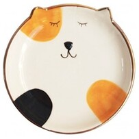 Urban Ginger Cat Dish - White/Orange 10cmDia