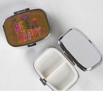 Natural Life Be Happy Pill Box - Silver