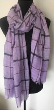 Bow Fashion Lilac Plaid Scarf