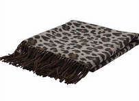 Madras Leopard Jacquard Throw Neutral - 130x