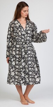 Arabella Floral MD-75K Robe - Black & White