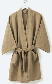 Citta Sunday Women's Short Linen Robe - Pickle Large