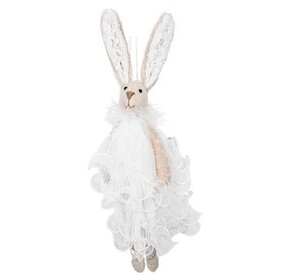 French Country Ballerina Hanging Bunny - White Dress
