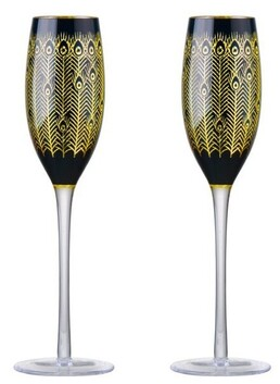 Artland Peacock Champagne Flutes - Midnight Set of 2