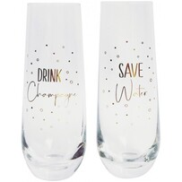 Urban Save Water Drink Champagne Glass - Gold Set of 2 16cm