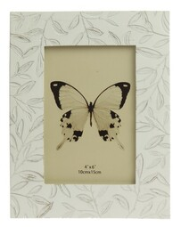 Amberlene Etched Small Leaves Photoframe - Antique White 4x6