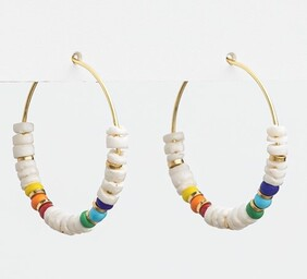 Stella & Gemma White/Colour Bead Hoop Earrings