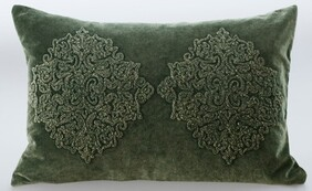 MM Linen Emblem Cushion Green - 60x40