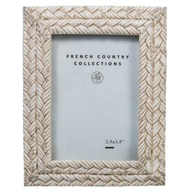 French Country Rope White Wash Photo Frame 2.5x3.5""